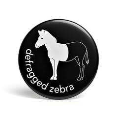 Geek Button Defragged Zebra